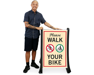 Walk your bike sidewalk sign