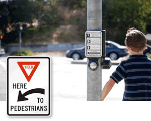 Here to Pedestrian Signs