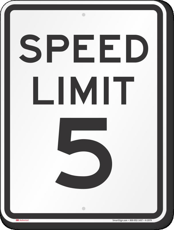 Speed Limit 5 MPH Aluminum Speed Limit Sign