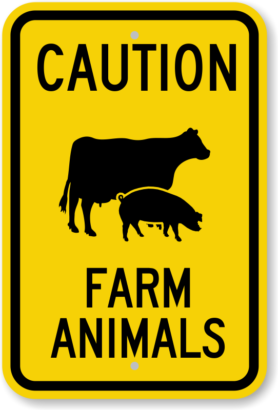 Farm Animals Caution Sign With Cow And Pig Symbol Sku K 0175