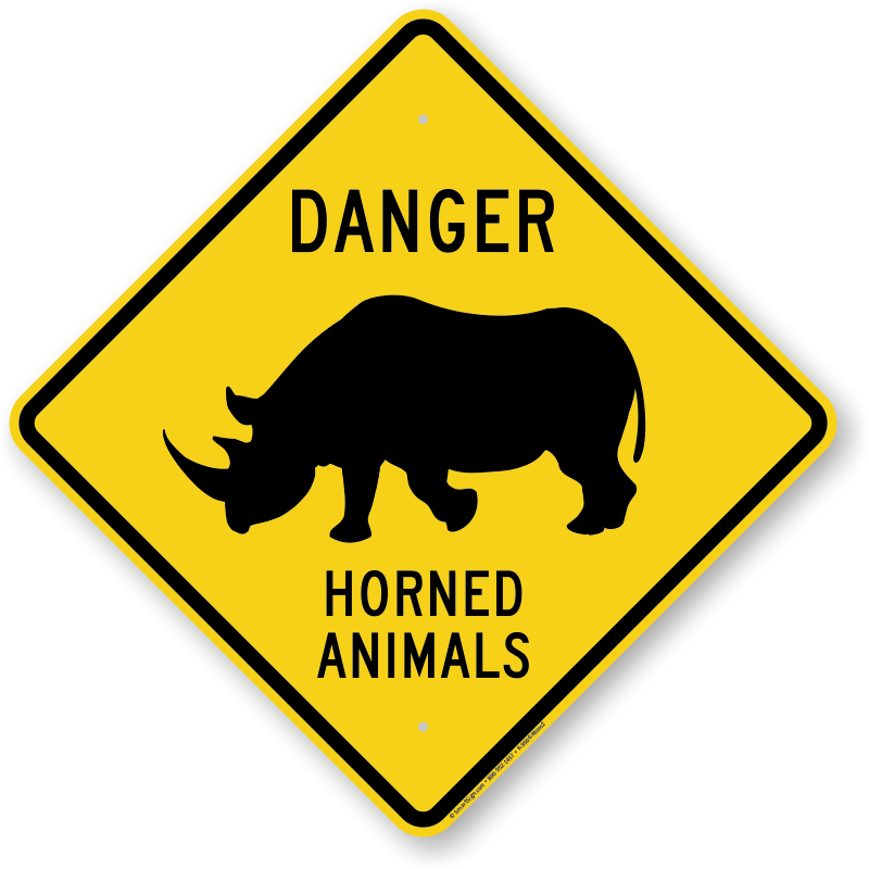 danger animals sign horned animal xing rhino2 graphic roadtrafficsigns