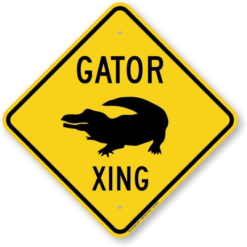 gator xing sign alligator crossing road sign sku k2 0317