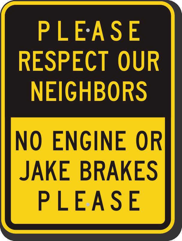 No Engine Braking Signs - No Engine Brake Or Jake Brake