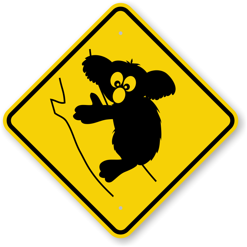 animal sign crossing koala signs graphic symbol control tree panda traffic silhouette roadtrafficsigns