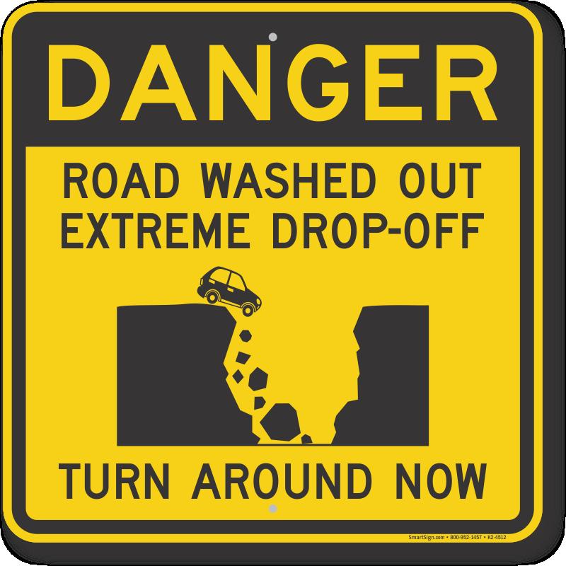 flood warning signs road flooded signage