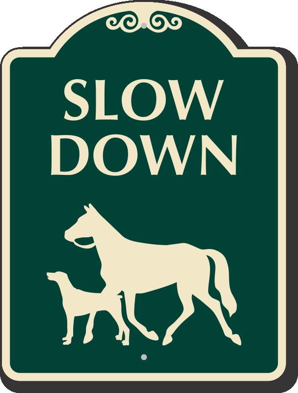 Slow Down Sign With Horse Dog Animal Crossing Symbols Sku K 0552