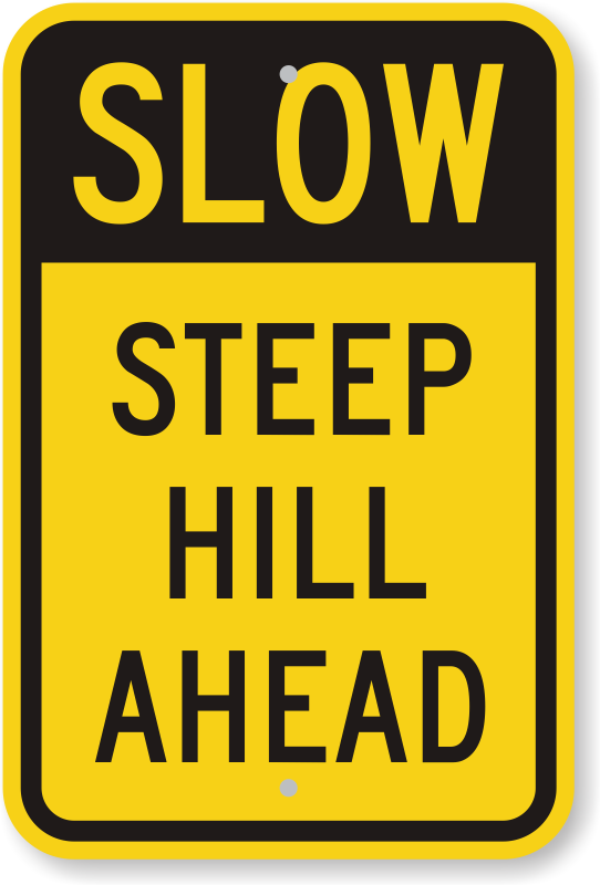 steep hill ahead slow down sign | free & fast delivery, sku: k-0471