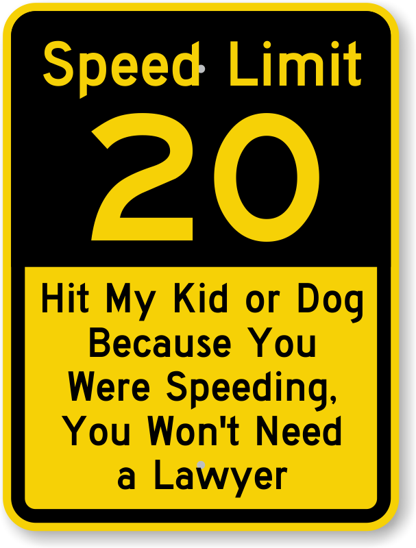 Speed Limit 20 Sign Hit My Kid Or Dog Because You Were Speeding