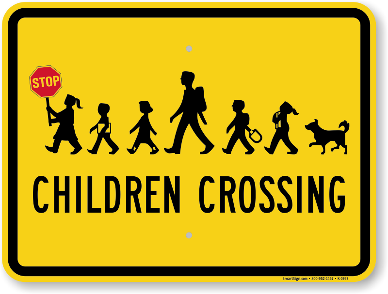 Children Crossing Signs Stop Slow Paddles Speed Limit Signs
