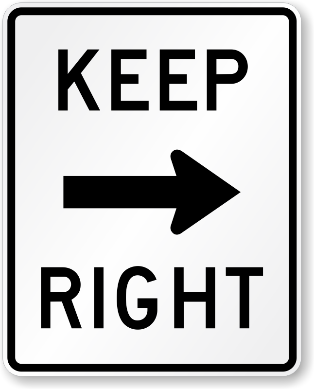 Keep Right Arrow Symbol R4 7a Signs Sku X R4 7a
