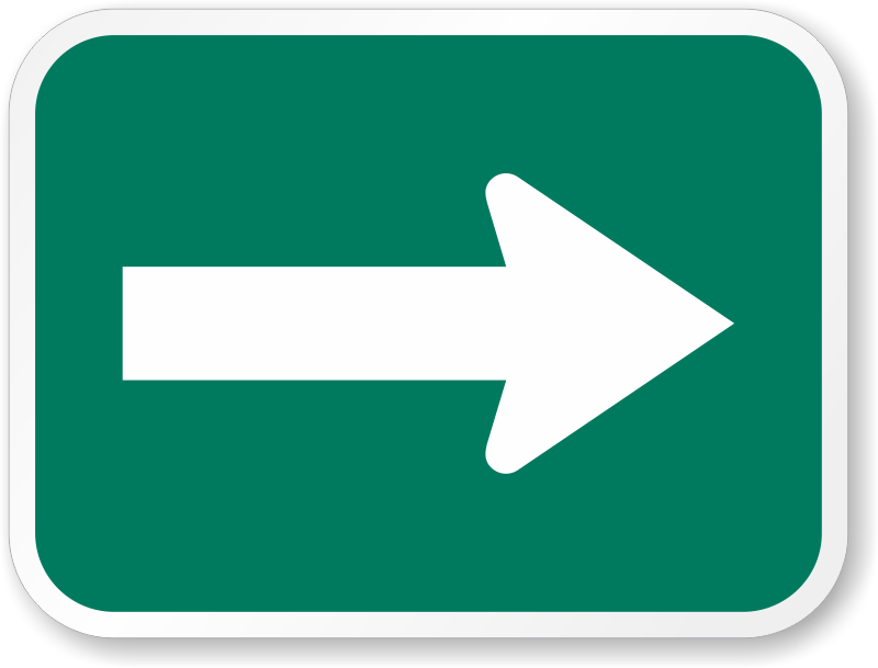 One Direction Arrow Sign - M7-1, SKU: X-M7-1 Green Road Sign Png
