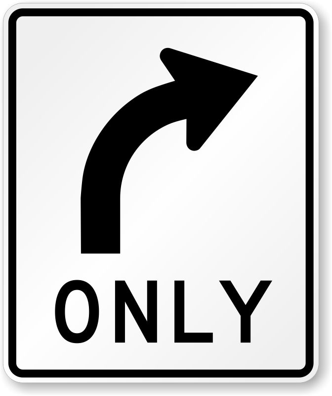 right turn only sign r3 5r sku x r3 5r