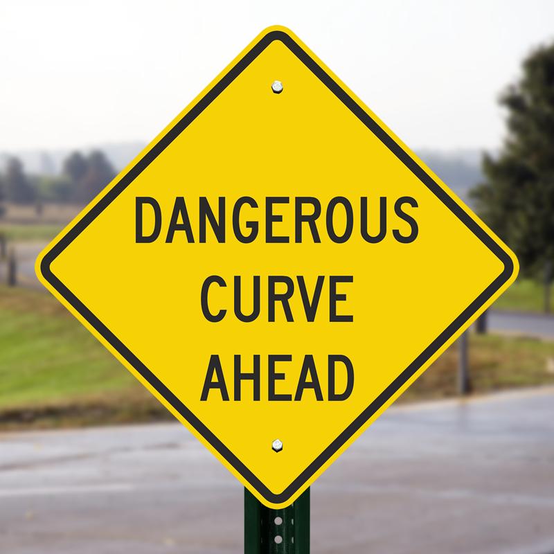 dangerous curve ahead sign sku k6513