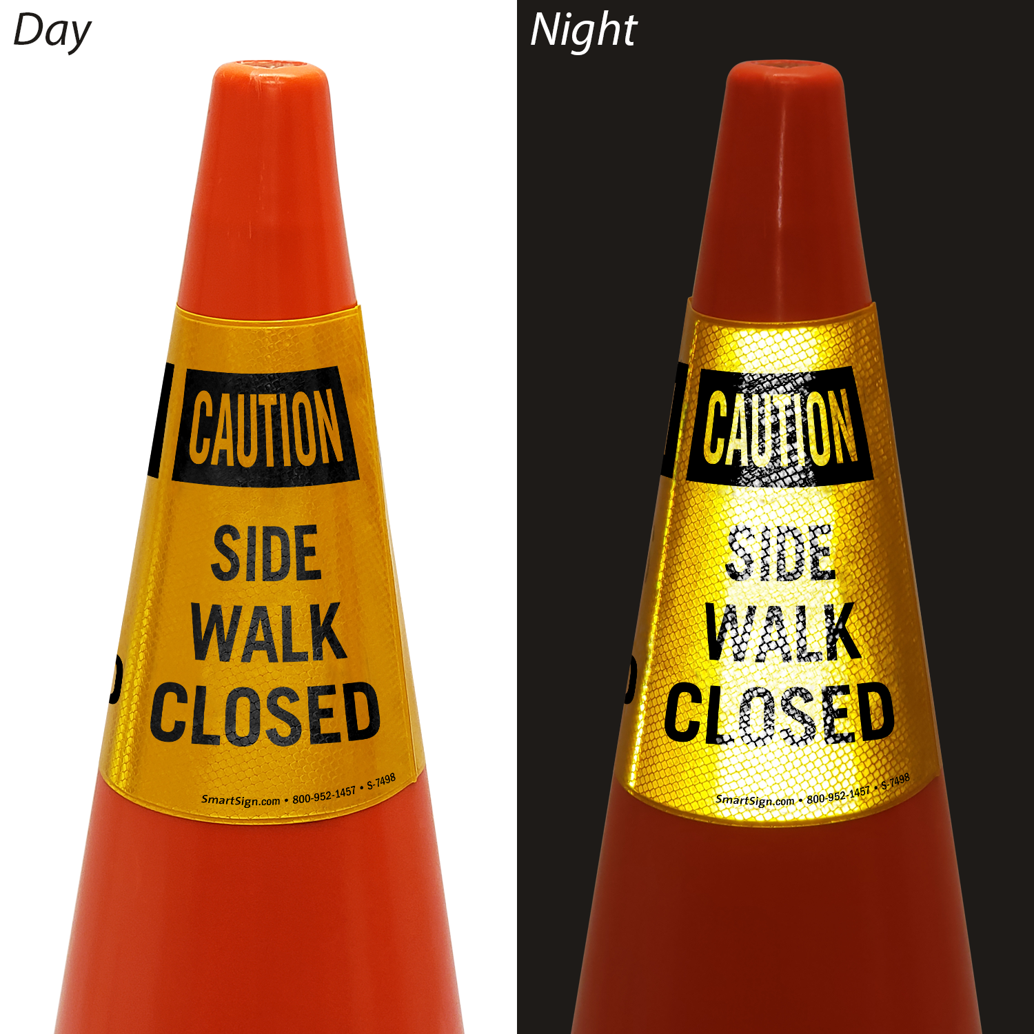 Caution Side Walk Closed Cone Message Collar Signs Sku S