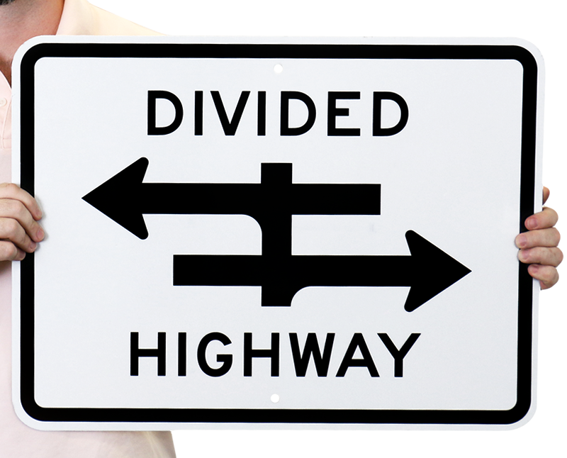 Divided Highway Road Traffic Sign R6 3a Sku X R6 3a