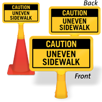 Caution Uneven Sidewalk ConeBoss Sign