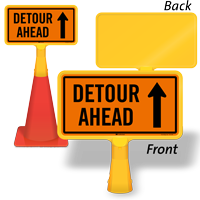 Detour Ahead ConeBoss Sign With Up Arrow