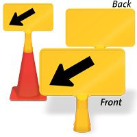 Downward Diagonal Left Arrow ConeBoss Sign