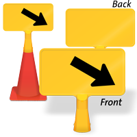 Downward Diagonal Right Arrow ConeBoss Sign