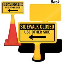Sidewalk Closed Left Arrow ConeBoss Sign