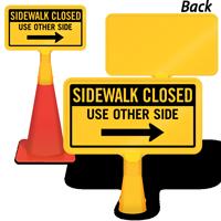 Sidewalk Closed Right Arrow ConeBoss Sign