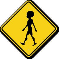 Alien Crossing Symbol Sign