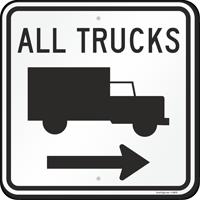 All Trucks Sign with Arrow