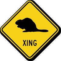 Beaver Xing Road Sign