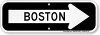 Boston City Traffic Direction Sign