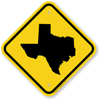 Novelty Texas Crossing Map Sign