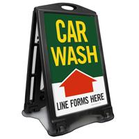 Car Wash Line Forms Here Sidewalk Sign