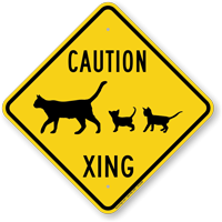 Caution Cat with Kittens Xing Sign