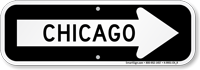Chicago City Traffic Direction Sign