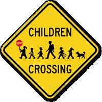 Children Crossing Holding Hand Held Stop Sign