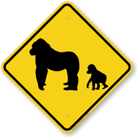 Chimpanzee with Baby Chimpanzee Crossing Sign
