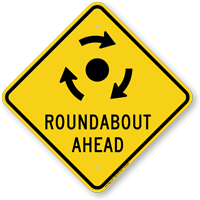 Roadabout Ahead with Clockwise Arrows