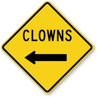 Clowns With Left Arrow Funny Crossing Sign