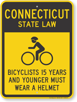 Bicyclists 15 Years Wear Helmet Connecticut Law Sign