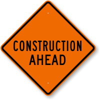 Construction Ahead Road Work Sign