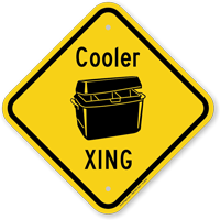 Cooler Xing Novelty Crossing Sign With Graphic
