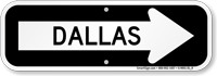 Dallas City Traffic Direction Sign