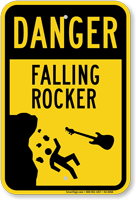 Danger Falling Rocker Novelty Sign With Graphic