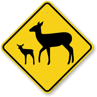 Deer with Fawn Crossing Sign