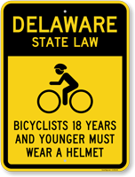 Bicyclists 17 Years Wear Helmet Delaware Law Sign