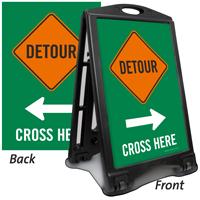 Detour Cross Here Arrow Sidewalk Sign