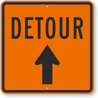 Detour Sign With Arrow