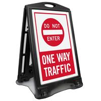Dont Enter, One-Way Traffic Portable Sidewalk Sign