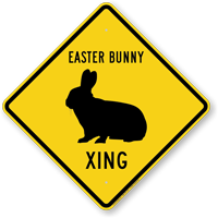 Easter Bunny Xing Symbol Sign