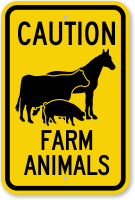 Farm Animals Horse, Cow, Pig Symbol Caution Sign