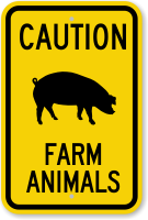 Farm Animals with Pig Symbol Caution Sign